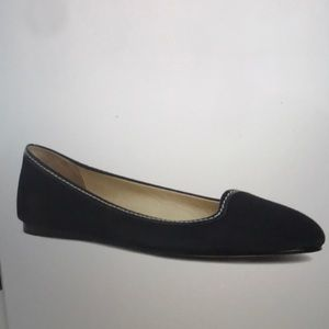 BROOKS BROTHERS BLUE KID SUEDE PATENT BALLET FLAT
